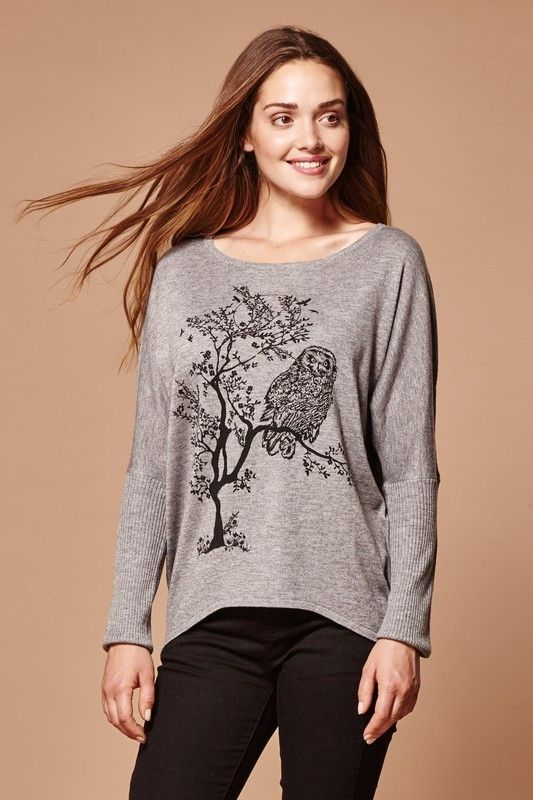 5dabf360e6f6cd Yumi   Owl on Branch Jumper   For knitwear that is bold and different, layer