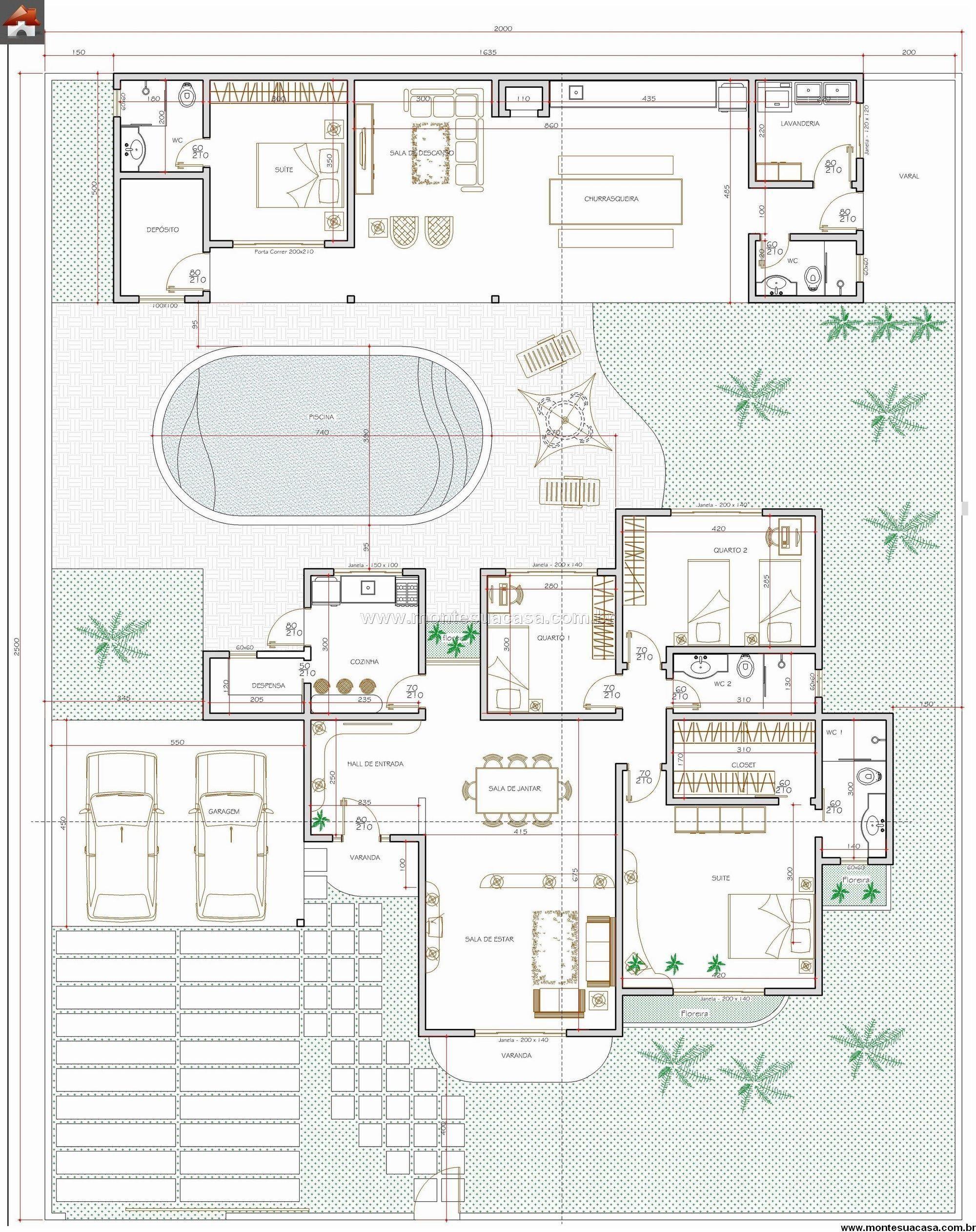 Casa 3 Quartos 138 06m² Patio House Floor Plans Modern