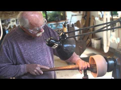 Jerry Kermode making Redwood Bowls using reclaimed redwood stumps for his natural edge turned bowls. Woodworking, lathe, woodturning.  Shop our selection of bowls.