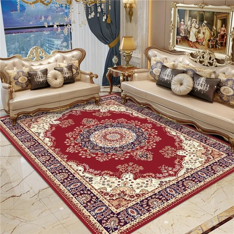 High Quality European Palace Living Room Printed Carpet For Living Room Bedroom Anti Skid Floor Mat Fashion Kitchen Carpet Area Living Room Carpet Living Room Prints Printed Carpet