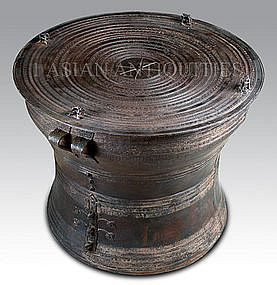 Thai Frog Drum Table | Asian Rain Drum Antiqued 24 Inch Wide Frog Style  (item