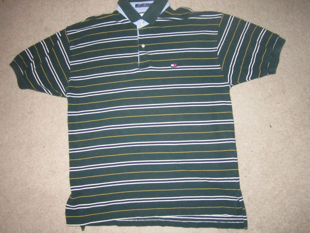 Men's Striped Tommy Hilfiger Polo Style Collared Shirt Size L #TommyHilfiger #PoloRugby