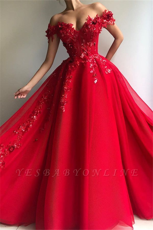 Photo of Glamorous Ball Gown Off The Shoulder Applique Flowers Evening Dre