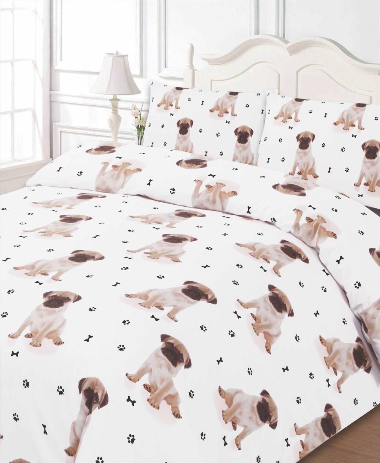 Pug All Over Print Dog Bedding Twin Full Queen King Duvet