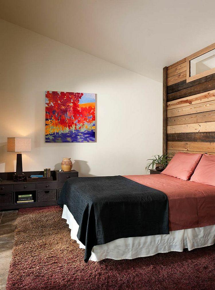 Deko Ideen Schlafzimmer Warme Farbtöne Schöne Holzwand Wiedergewonnenes  Holz Wandbild   Lampe