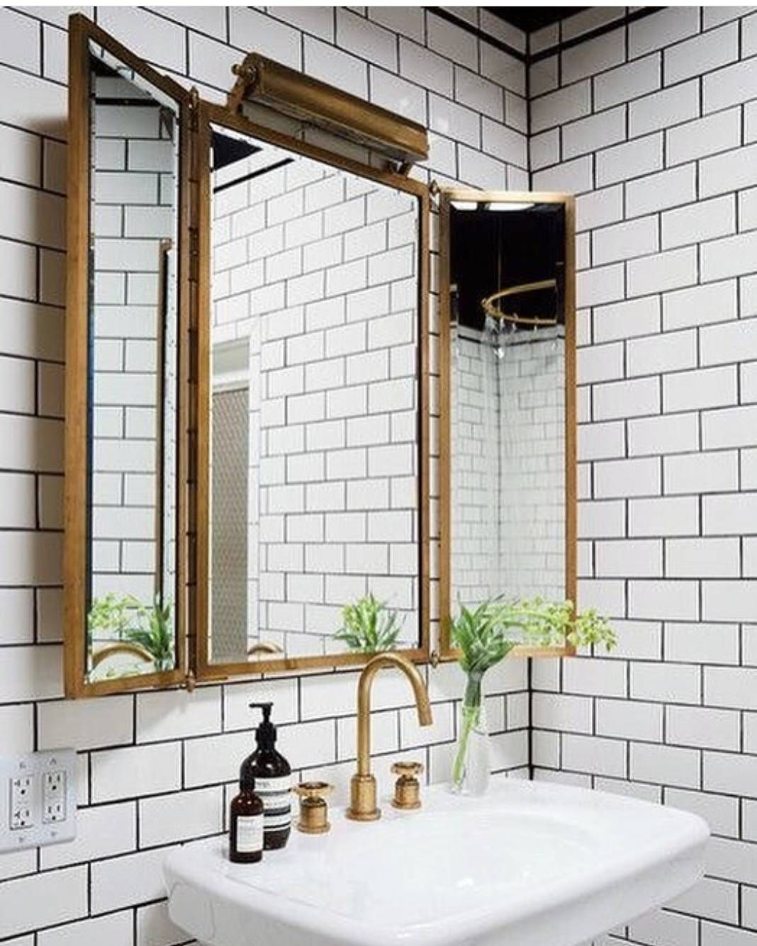 Floor To Ceiling White Subway Tile Black Grout And Brass