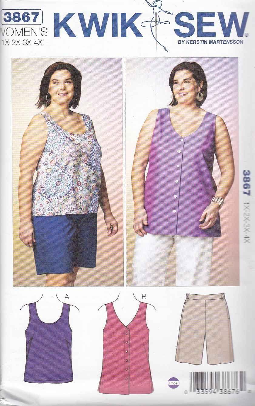 b762068aaad76 Kwik Sew Sewing Pattern 3867 Women s Plus Size 1X-4X (approx 22W-32W)  Shorts Sleeveless Top Tunic ...