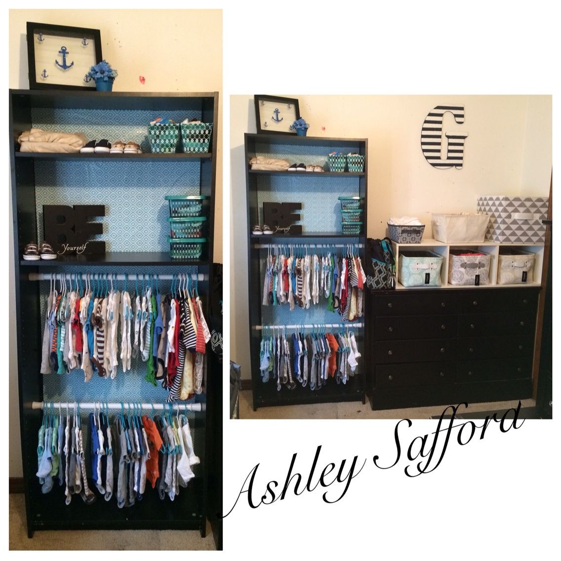 Baby Boy nursery!!! Bookshelf turned into a closet!!