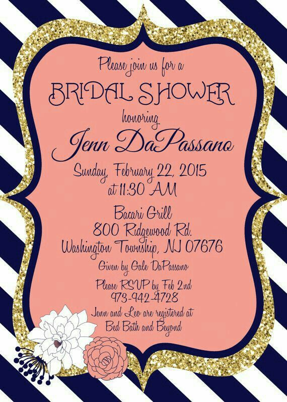 Pin by aileena fager on country bridal shower ideas pinterest coral and navy wedding invitation bridal shower gold digital file printable filmwisefo
