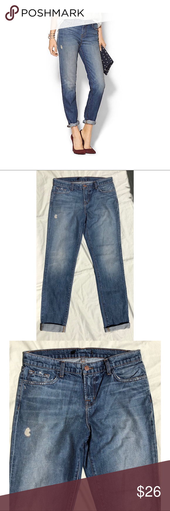 """J Brand Slim Boyfriend Skinny Distressed JAKE J Brand Slim Boyfriend Skinny Distressed JAKE Jeans in ADORED Wash  Size: 25  Waist: 30""""  Rise: 9""""  Hip: 38""""  Inseam: 30 1/2"""" uncuffed  Cotton Blend  Some of there inside tags have been cut out. Other wise in excellent/pristine condition. J Brand Jeans Boyfriend"""