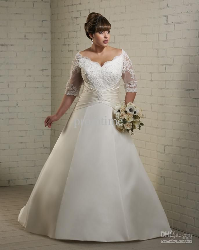 Wholesale off-the-shoulder ivory satin and lace plus size bridal ...