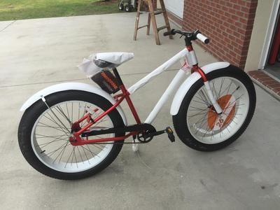 Fat Tire Bike Fenders - Stock Seat with Cruiser Bars and Fiberglass Fenders