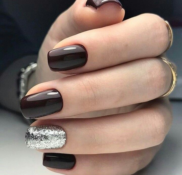 Black Cherry Silver Nails Rose Gold Instead Of Silver Trendy Nails Silver Nails Nails