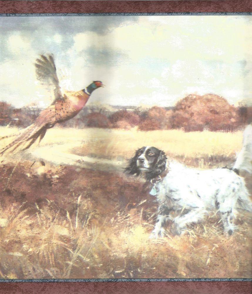 Pheasant bird dog hunting wallpaper border Chesapeake