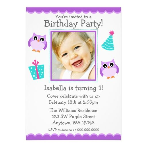 Purple Owl Party 1st Birthday Girl Photo Card Owl parties, Photo - invitation card for ist birthday