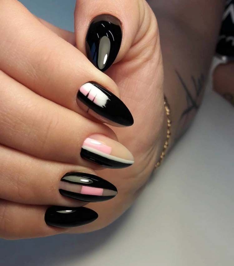 Black With Pink Almond Nails Trend 2020 In 2020 Nail Trends