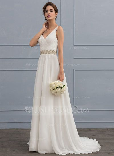 Photo of [US$ 172.99] A-Line/Princess V-neck Sweep Train Chiffon Wedd