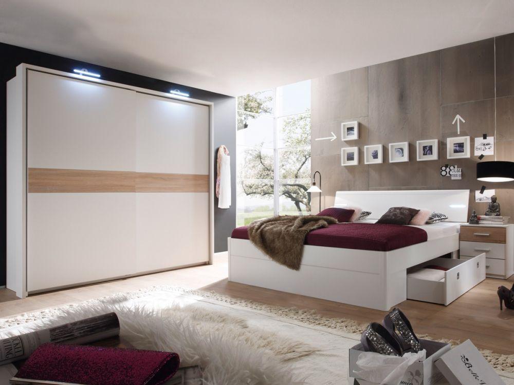 MILENA Komplett Schlafzimmer weiß\/Eiche Sonoma Schlafzimmer - schlafzimmer eiche