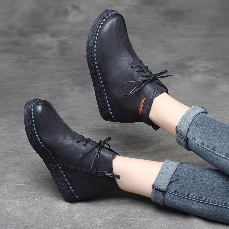 Vintage Leather Zipper Martin Boots Babakud Zapatos De Vestir Mujer Zapatos De Cuero Zapatos De Vestir