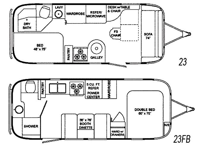 The vintage airstream flying cloud 23 foot travel trailer for 18 foot travel trailer floor plans