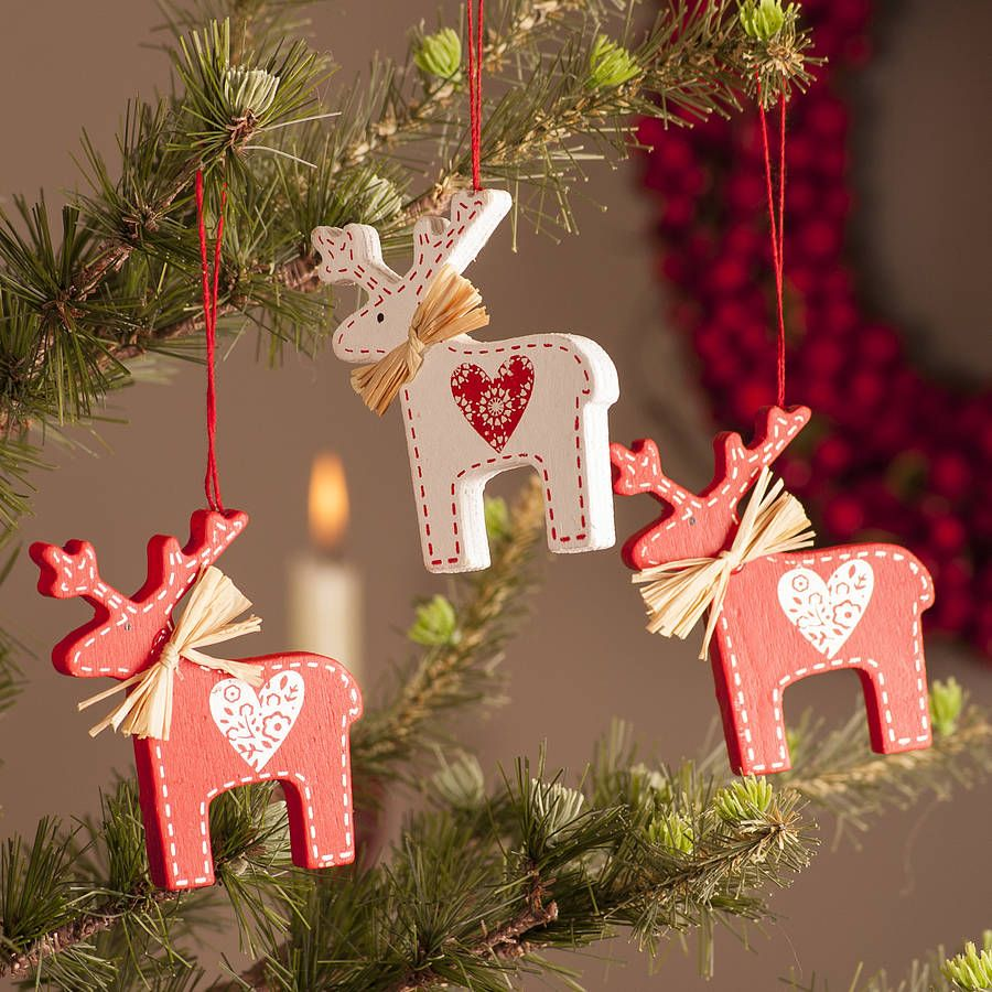 Wooden Nordic Reindeer Decoration Reindeer Decorations
