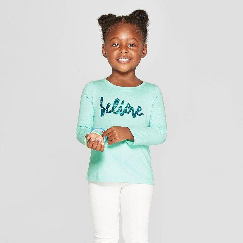 c533f7f525a Toddler Girls' Long Sleeve 'Believe' Graphic T-Shirt - Cat & Jack Aqua 18M,  Green