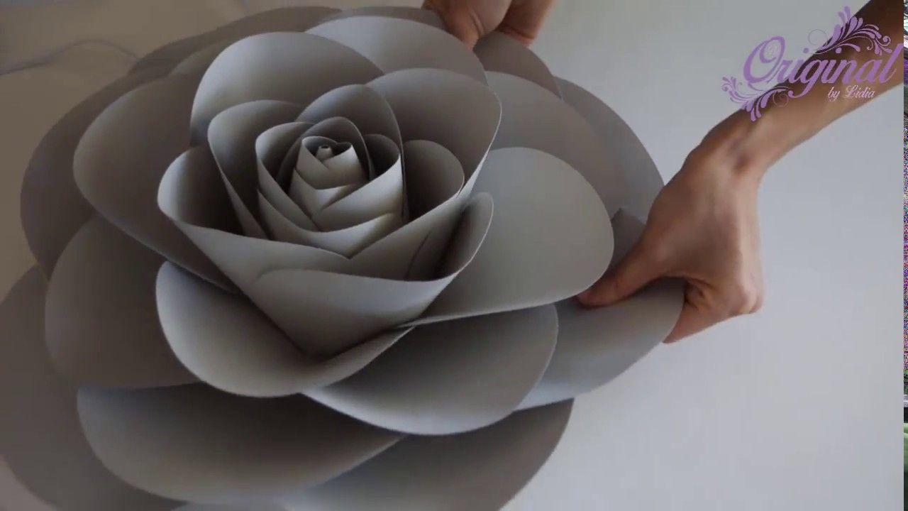 Diy Paper Flower Flower Template 32 Camellia Paper Rose Youtube Handmade Flowers Paper Paper Flowers Paper Roses