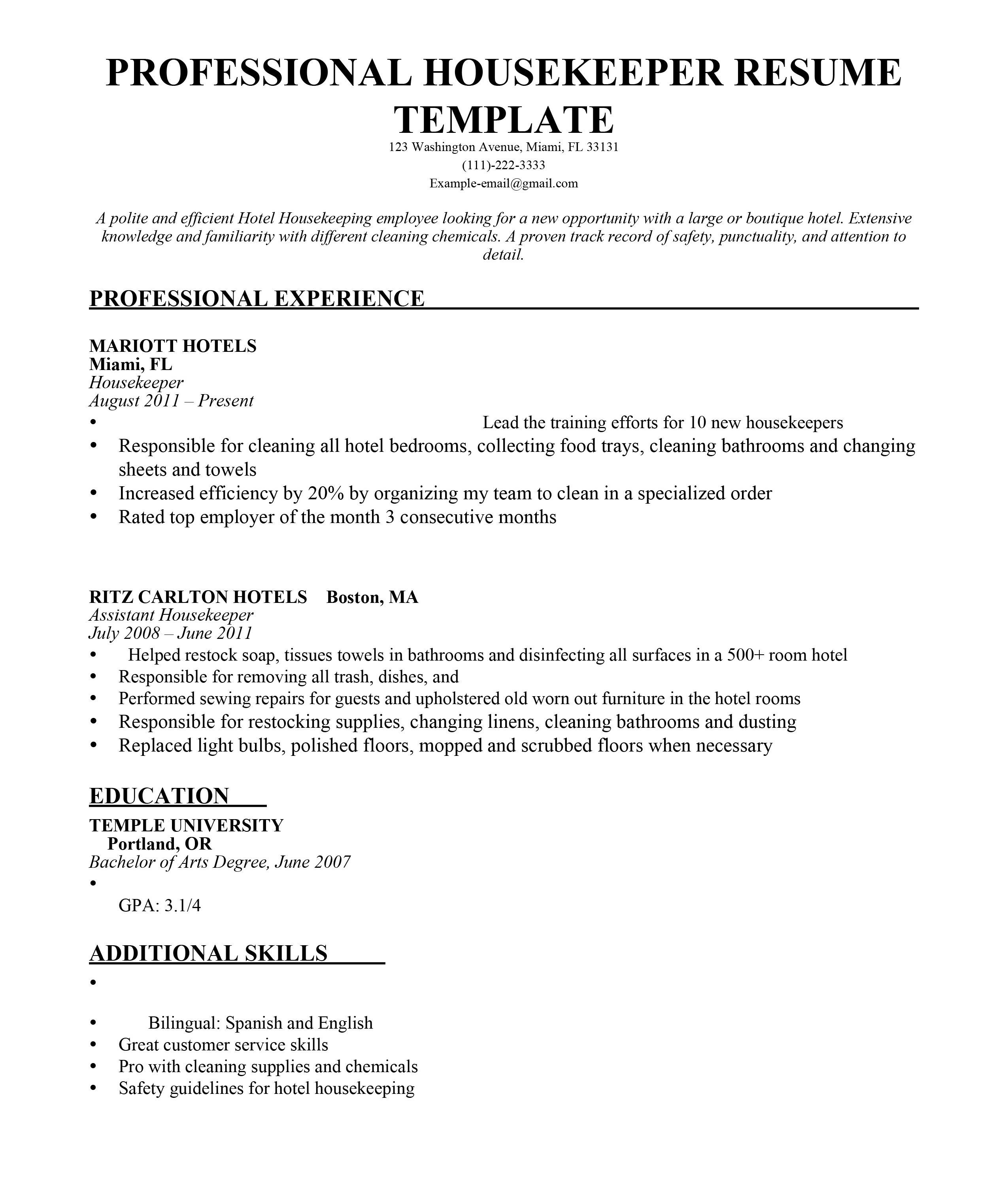 House Keeping Resume Best Housekeeper Example Livecareer