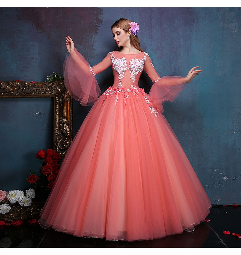 100%real flower embroidery beading flare sleeve ball gown medieval ...