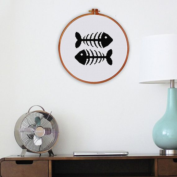 Fish Bone cross stitch pattern modern minimalist silhouette bird pattern