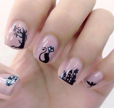 Amazing Black Cat Nail Art Designs Ideas 2014 2015 4 Jpg 450 428 Pixels Decoracion Unas Halloween Unas De Gato Manicura Halloween
