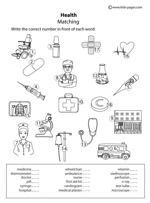 Health Matching B W Worksheet Worksheets For Kids First Aid For Kids Health Activities