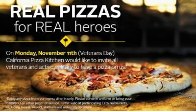 Superior Veterans Coupon U0026 Veterans Promo Code From The Coupons App. Veterans U0026  Active Military Enjoy Free Pizza The At California Pizza Kitchen February Nice Design