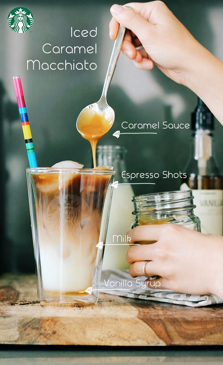 iced caramel macchiato recipe (for a 16oz cup): add 3 pumps of