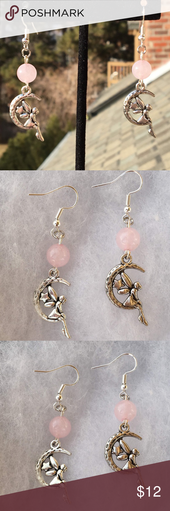 39f9c826d Pink Rose Quartz Fairy Earrings These beautiful earrings are made with  natural rose quartz and silver