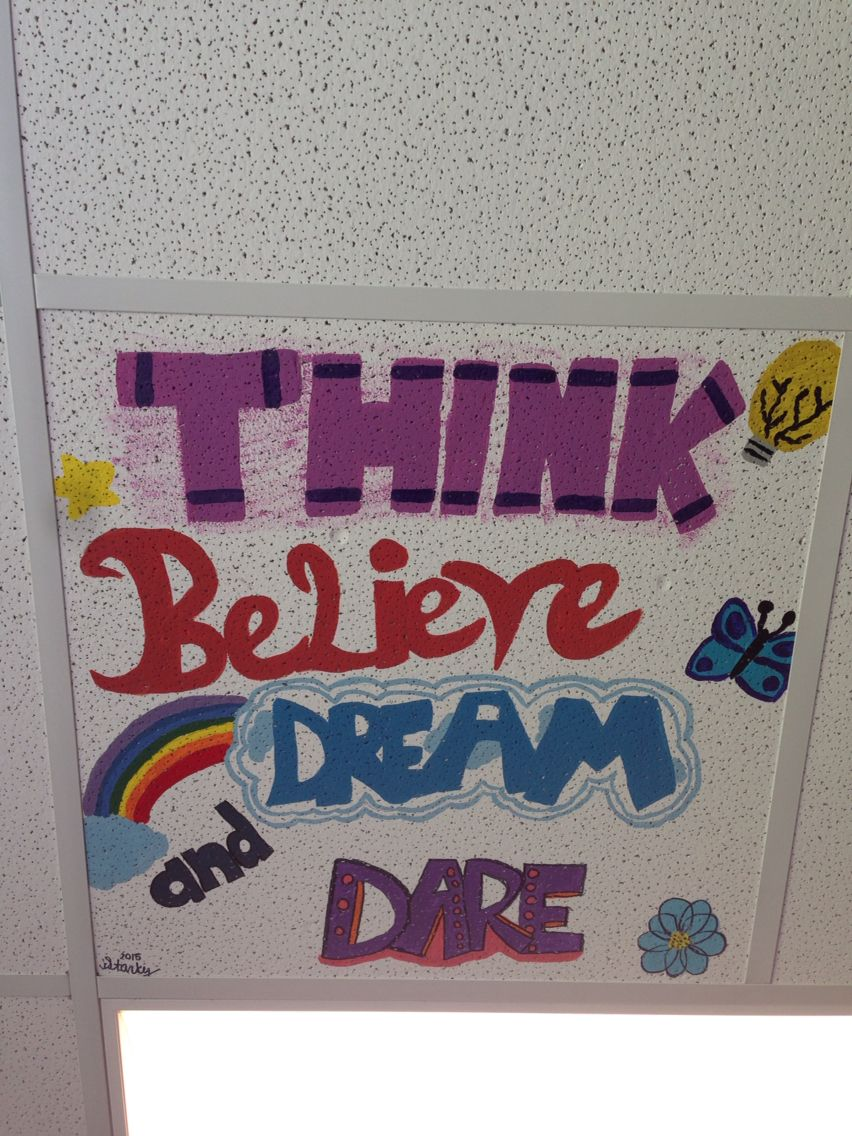 Painted Ceiling Tile In Classroom Kids Are Going To Do The Same Too Ceiling Tiles Painted Ceiling Tiles Painted School Painted Ceiling