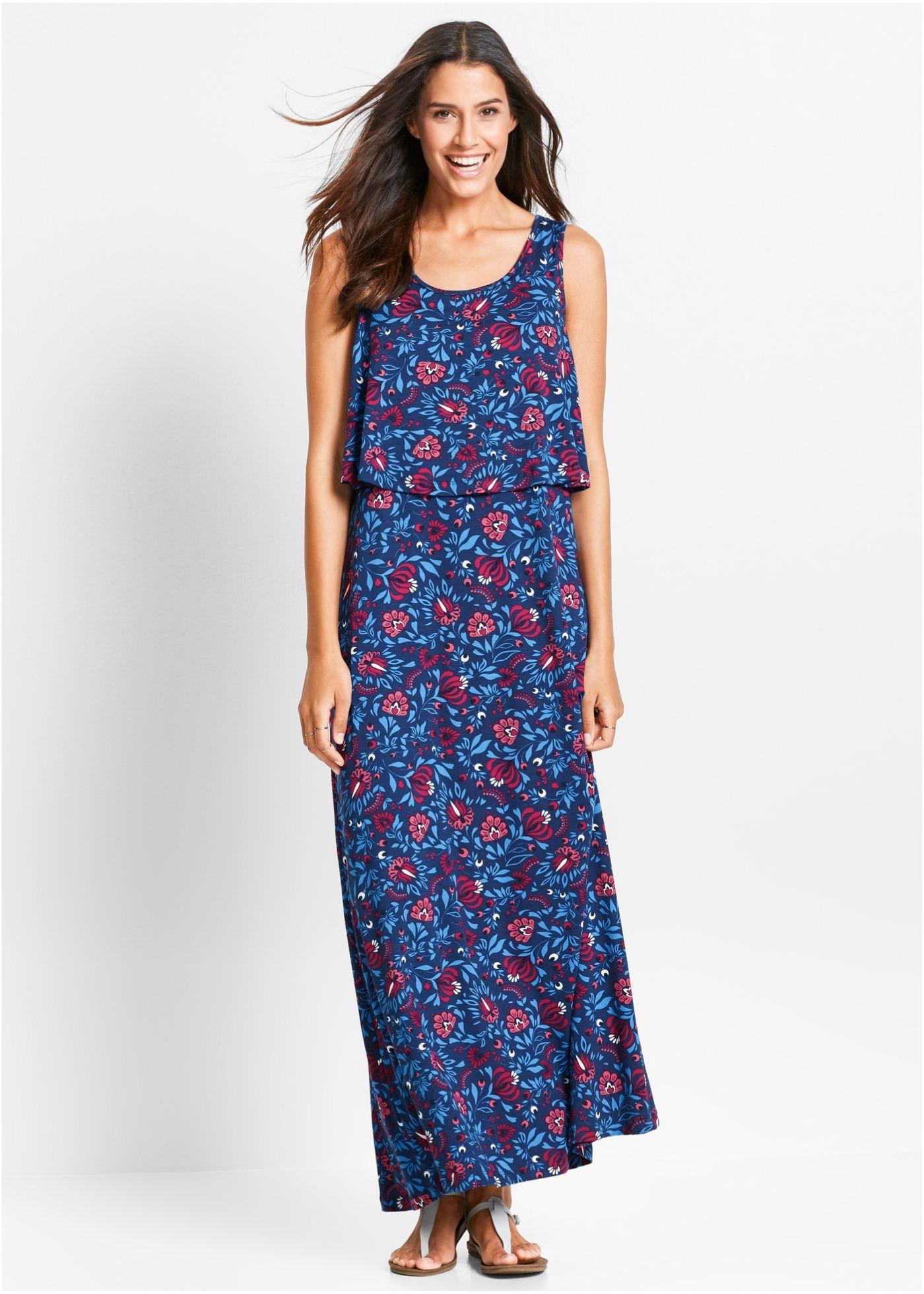 a7a370caa504 Šaty ve vícevrstvém vzhledu hořecová modrá s květinovým vzorem - Žena - bpc  bonprix collection -