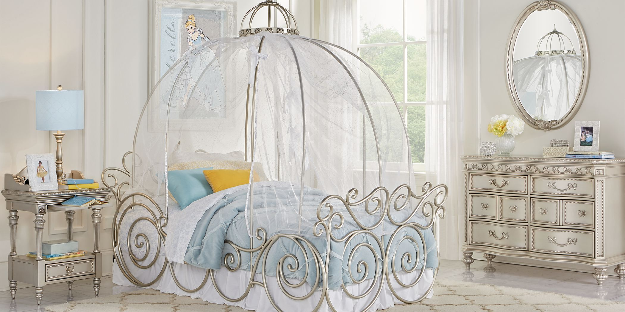 Disney Princess Silver 6 Pc Twin Carriage Bedroom in 2020