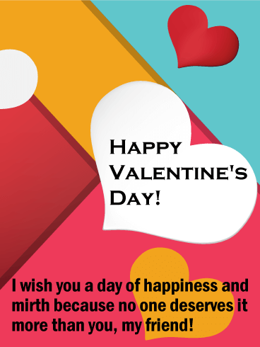 You Deserve Happiness Happy Valentine S Day Card For Friends Birthday Greeting Cards By Davia Happy Valentines Day Happy Valentines Day Card Happy Valentine