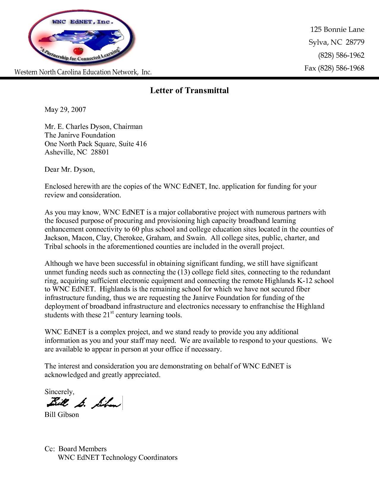 letter of transmittal for proposal