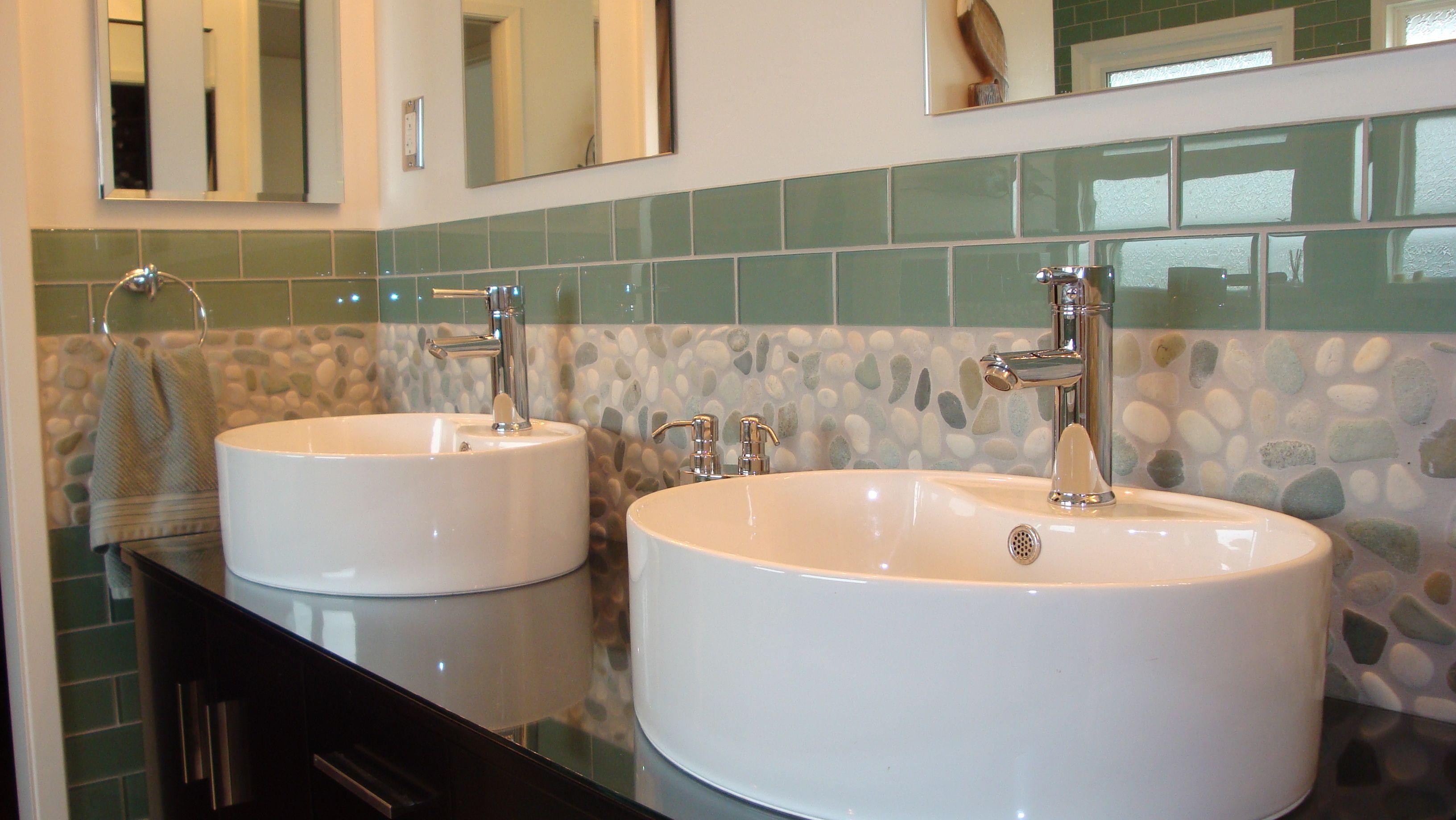 Bathroom Borders With Pebbles Pebble Tile Standing Pebble Tile