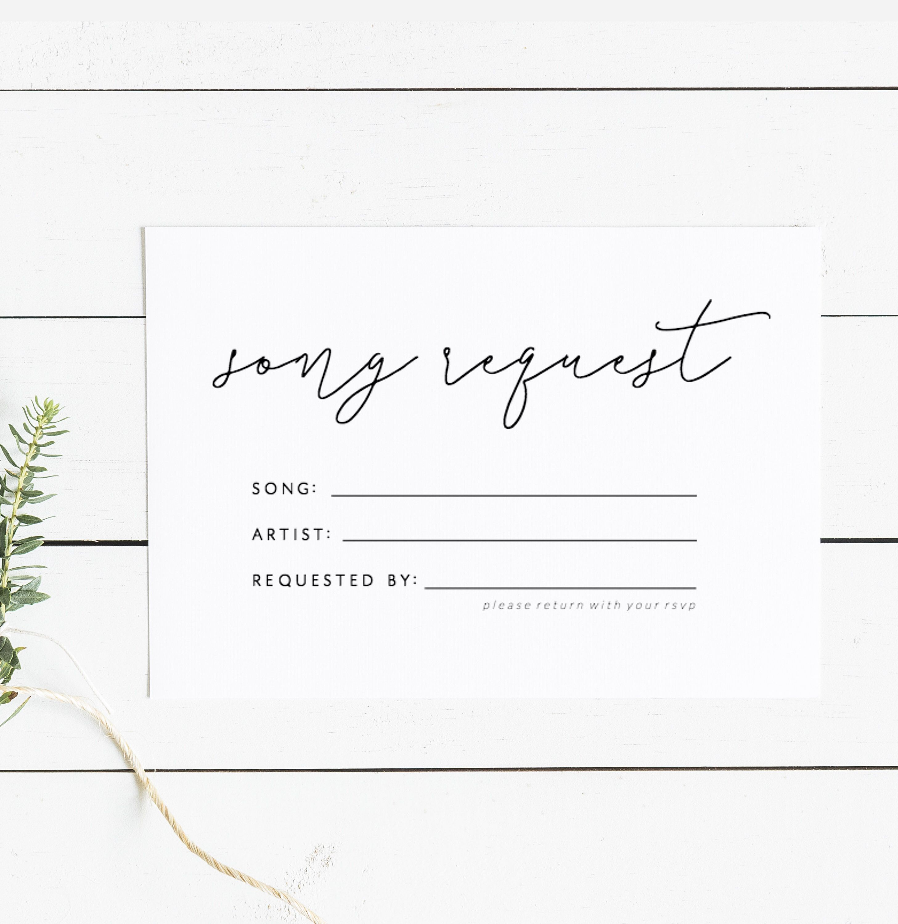 Editable Song Request Cards Template Printable Rsvp Wedding Etsy Song Request Wedding Song Request Card Templates Printable
