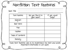 nonfiction text features worksheet | Free Nonfiction Features ...