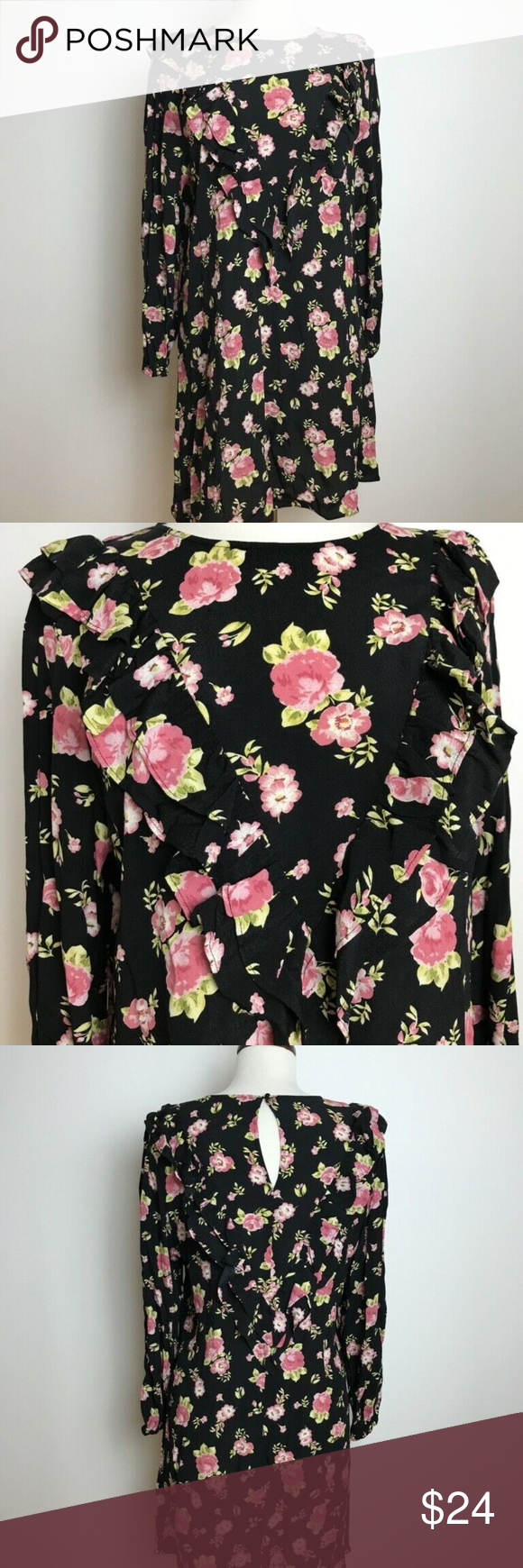 Nwt Zara The Sandy Black Pink Flowers Dress L Description The Sandy Dress Pink Floral Print Ruffl Black Pink Floral Dress Pink Flower Dress Pink Floral Dress [ 1740 x 580 Pixel ]