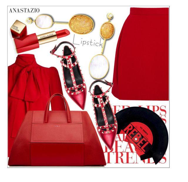 """Anastazio-Fall Beauty: Red Lipstick"" by anastazio-kotsopoulos ❤ liked on Polyvore featuring beauty, Delpozo, Sonia Rykiel, Anastazio and Estée Lauder"