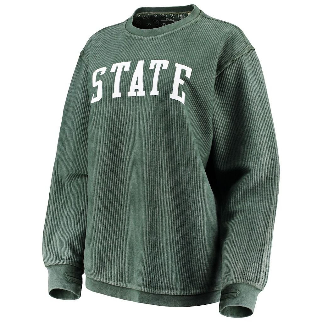 Women S Pressbox Green Michigan State Spartans Comfy Cord Vintage Wash Basic Arch Pullover Sweatshirt Pullover Sweatshirt Fun Sweatshirts Sweatshirts [ 1024 x 1024 Pixel ]