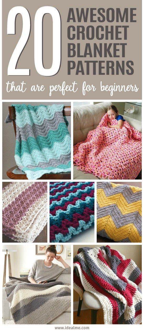 20 Awesome Crochet Blanket Patterns for Beginners | Manta, Colchas y ...