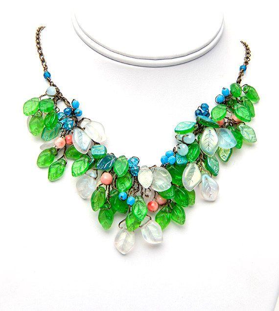 Blau Grün Halskette Anweisung Bib Collier von CherylParrottJewelry
