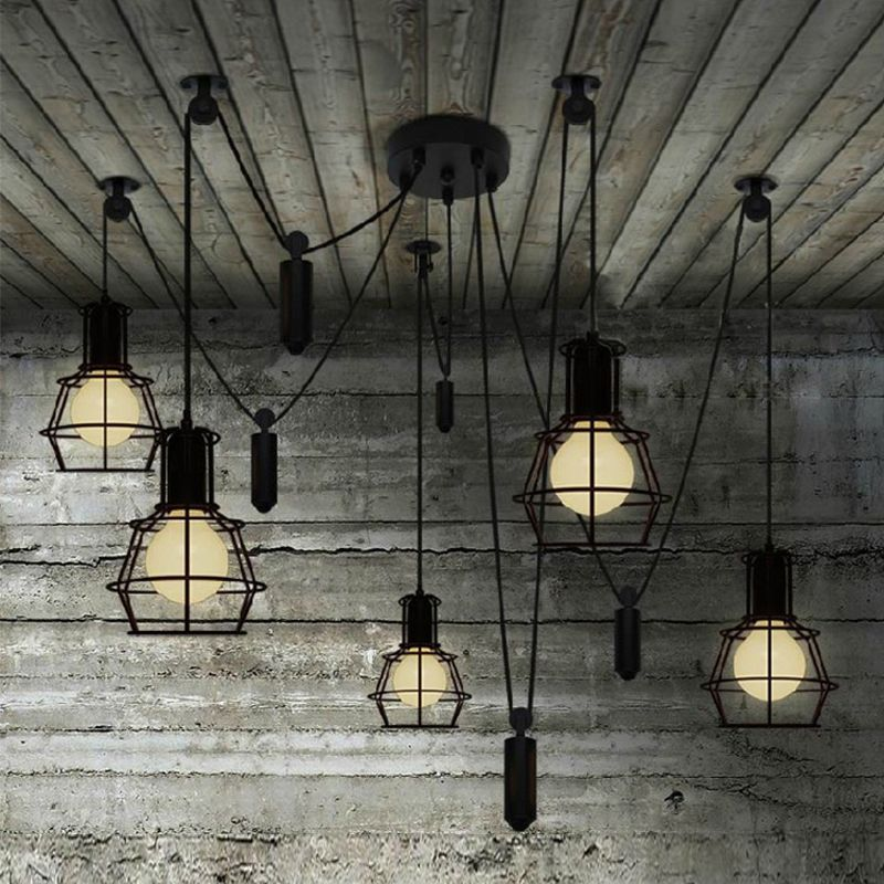 Novelty Spider Pulley Pendant Lamp Kitchen Bar Adjustable Retro Industrial  Lighting Candelabro Dining Room Vintage Pendant