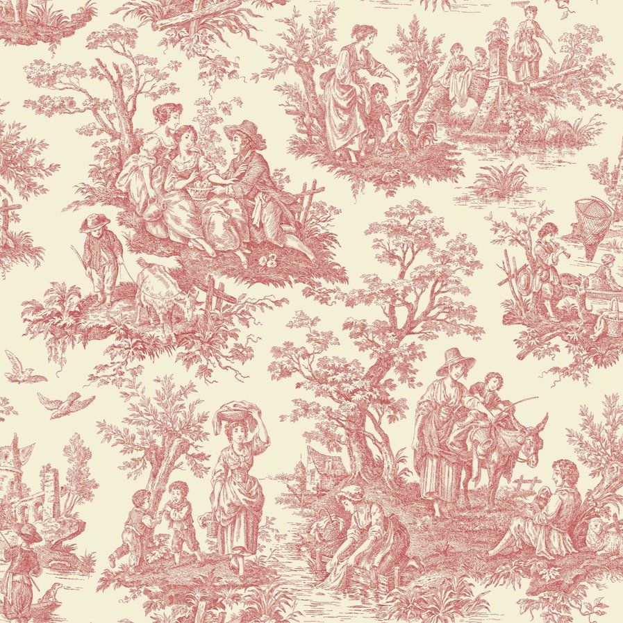 Waverly Country Life 33 X 20 5 Toile Wallpaper Roll Toile Wallpaper Classic Wallpaper Red Toile